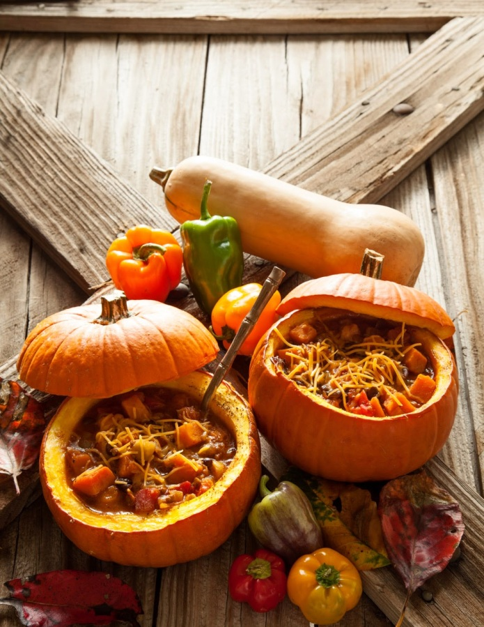 Butternut Chili in Pumpkin Bowls